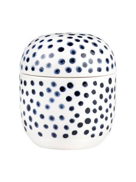 Barattolo portaoggetti in gres Dots, Gres con smalto, Bianco, blu, Ø 10 x Alt. 12 cm
