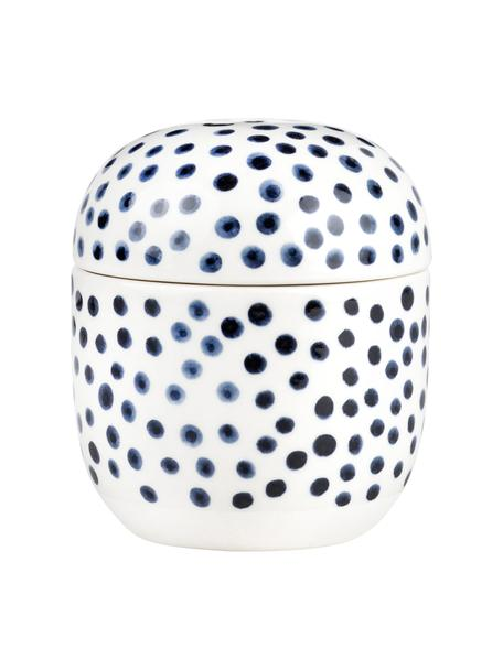 Bote de gres Dots, Gres con glaseado, Blanco, azul, Ø 10 x Al 12 cm