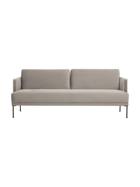 Samt-Sofa Fluente (3-Sitzer) in Beige mit Metall-Füssen, Bezug: Samt (Hochwertiger Polyes, Gestell: Massives Kiefernholz, Samt Beige, B 196 x T 85 cm