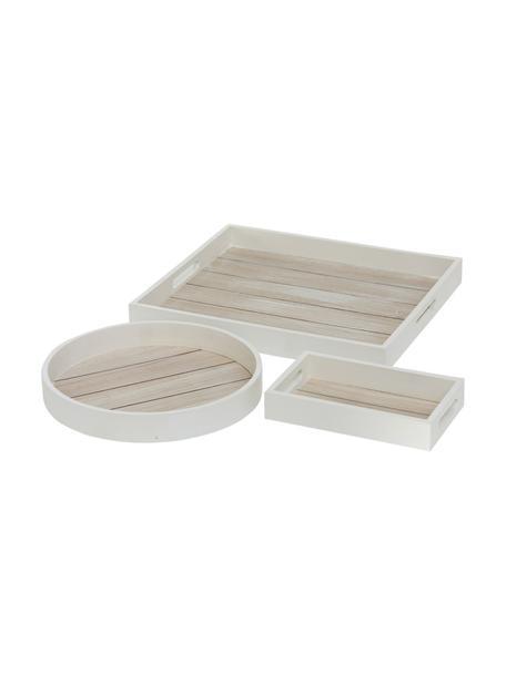 Decoratieve dienbladen-set Tönning, 3-delig, MDF, hout, Wit, bruin, Set met verschillende formaten