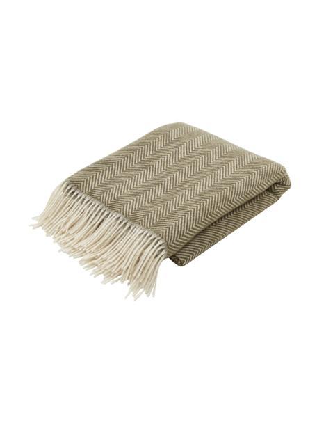 Manta de lana con flecos Tirol-Mona, 100%lana, Verde oliva, blanco, An 140 x L 200 cm