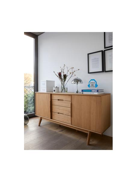 Sideboard Bettina mit Schubladen und Eichenholzfurnier, Korpus: Mitteldichte Holzfaserpla, Braun, 180 x 84 cm