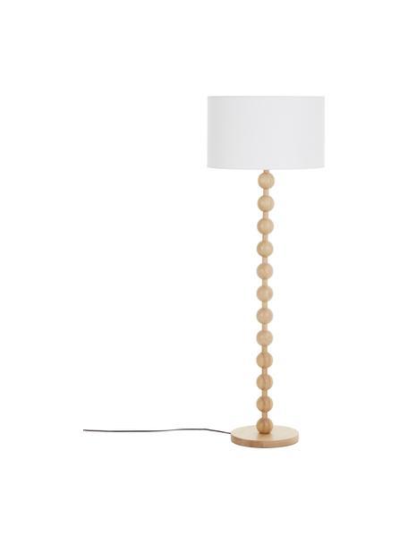 Vloerlamp Shona met houten voet, Lampenkap: textiel, Lampvoet: massief essenhout, FSC®-g, Wit, essenhoutkleurig, Ø 50 x H 149 cm