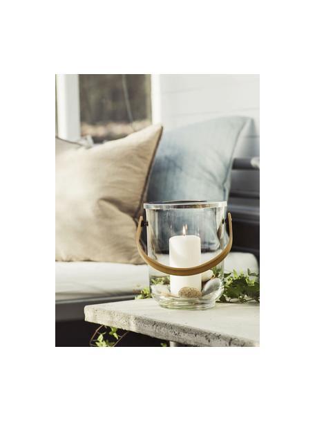 Lanterna Raphaela, Portacandela: vetro, metallo, Manico: bambù, Trasparente, argentato, bambù, Ø 19 x Alt. 23 cm