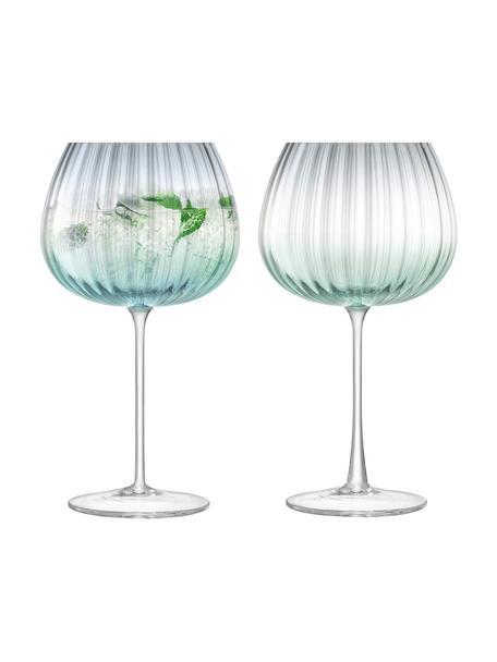 Handgemaakte wijnglazen Dusk, 2 stuks, Glas, Groen, grijs, Ø 10 x H 20 cm