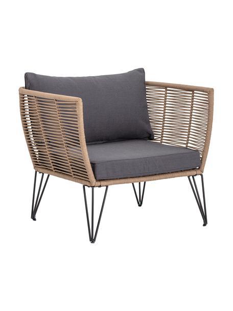 Fotel ogrodowy ze splotu z tworzywa sztucznego Mundo, Stelaż: metal malowany proszkowo, Tapicerka: poliester, Brązowy, S 87 x G 74 cm