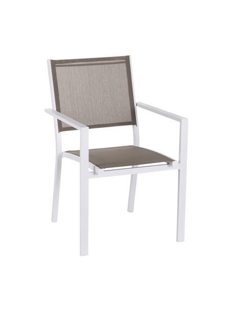 Sedia impilabile da giardino Thais, Struttura: alluminio rivestito, Bianco, taupe, Larg. 69 x Alt. 99 cm