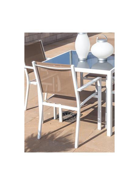 Krzesło ogrodowe Thais, Stelaż: aluminium powlekane, Biały, taupe, S 69 x W 99 cm