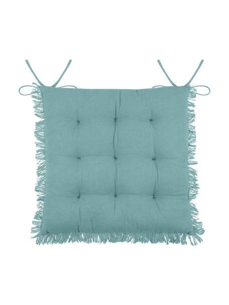 Cojín de asiento con flecos Prague, Azul, An 40 x L 40 cm