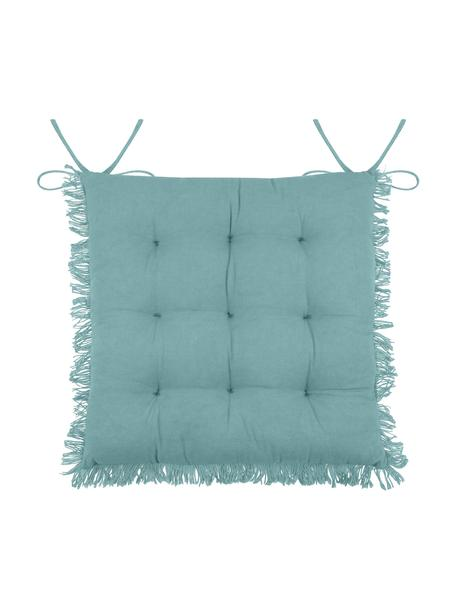 Poduszka na krzesło z frędzlami Prague, Niebieski, S 40 x D 40 cm