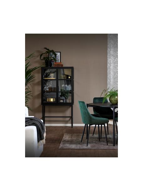 Glazen vitrine Marshall met hoge poten in zwart metaal, Zwart, transparant, 85 x 160 cm