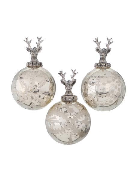 Weihnachtskugeln Sainte Ø 10 cm, 3 Stück, Silberfarben mit Antik-Finish, Ø 10 cm