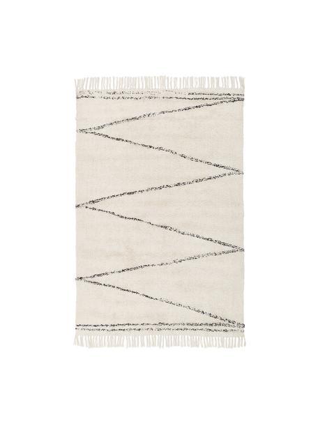 Handgetuft katoenen vloerkleed Asisa met zigzaggend patroon en franjes, 100% katoen, Beige, zwart, B 120 x L 180 cm (maat S)