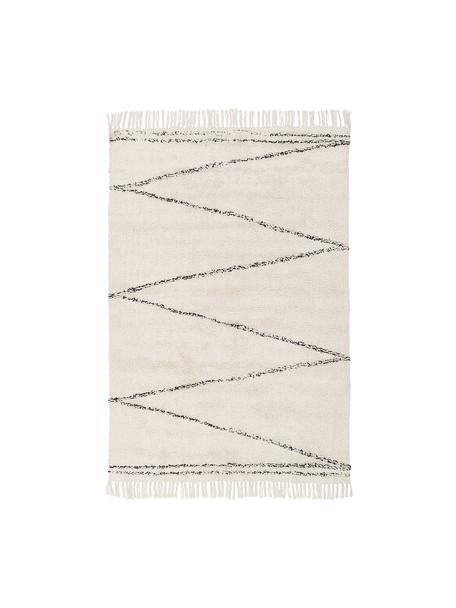 Handgetufteter Baumwollteppich Asisa mit Zickzack-Muster, Beige, Schwarz, B 120 x L 180 cm (Größe S)