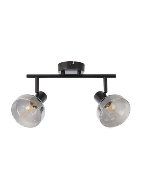 Faretti da soffitto in vetro Reflekt, Paralume: vetro, Baldacchino: metallo, Nero, grigio trasparente, Larg. 43 x Alt. 20 cm