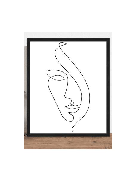 Ingelijste digitale print Abstract Face II, Lijst: gelakt beukenhout, Lijst: zwart, 53 x 63 cm