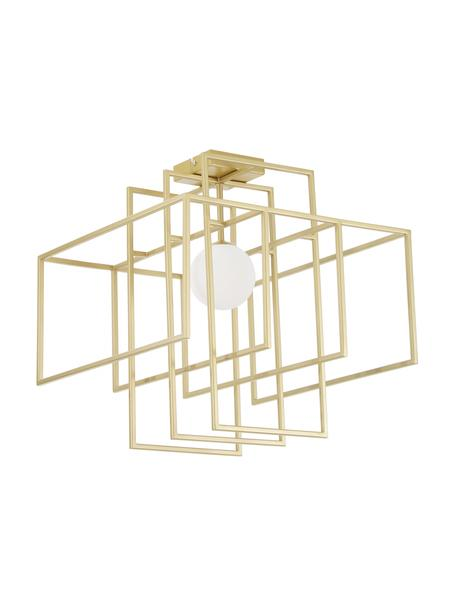 Design plafondlamp Rubic met glazen lampenkap, Lampenkap: glas, Baldakijn: gepoedercoat metaal, Goudkleurig, 40 x 43 cm