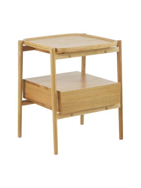 Comodino in legno di quercia Libby, Ripiano: legno di quercia impialla, Marrone chiaro, Larg. 49 x Alt. 60 cm