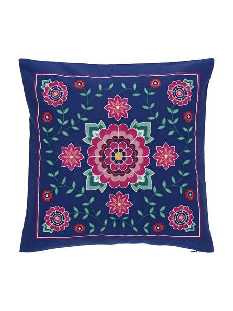 Federa arredo ricamata con motivo floreale Lore, 100% cotone, Multicolore, Larg. 45 x Lung. 45 cm