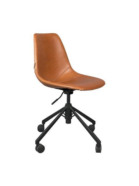 Krzesło biurowe ze sztucznej skóry Franky, obrotowe, Tapicerka: sztuczna skóra (poliureta, Nogi: metal malowany proszkowo, Brązowy, S 68 x G 68 cm