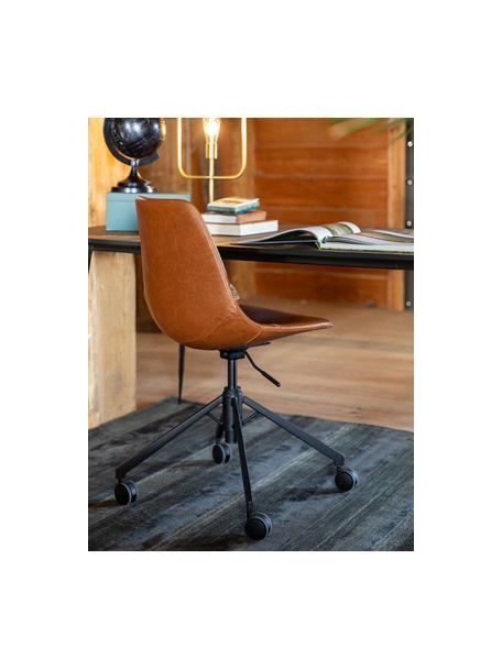 Kunstleren bureaustoel Franky, in hoogte verstelbaar, Bekleding: kunstleer (polyurethaan), Poten: gepoedercoat metaal, Wieltjes: kunststof, Bruin, 68 x 68 cm