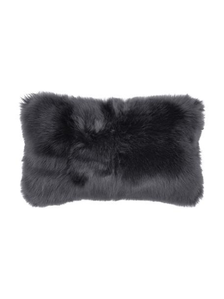 Poszewka na poduszkę ze sztucznego futra Mathilde, gładka, Ciemny szary, S 30 x D 50 cm