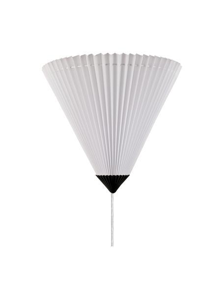 Wandleuchte Matisse aus Faltenstoff mit Stecker, Lampenschirm: Stoff, Weiß, Schwarz, 34 x 28 cm