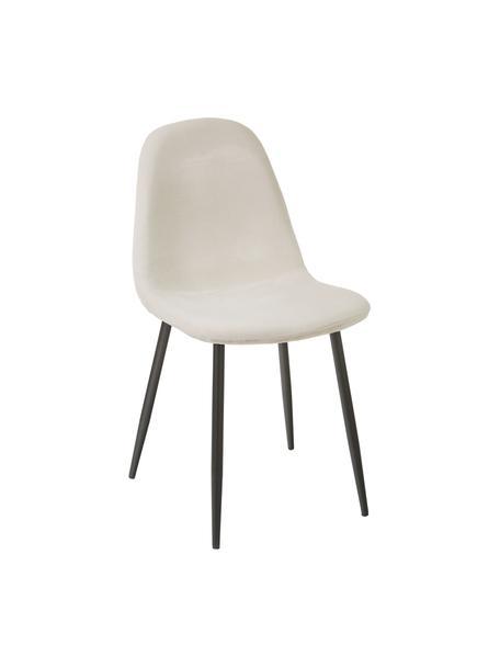 Krzesło tapicerowane z aksamitu Karla, 2 szt., Tapicerka: aksamit (100 % poliester), Nogi: metal malowany proszkowo, Aksamit kremowobiały, S 44 x G 53 cm