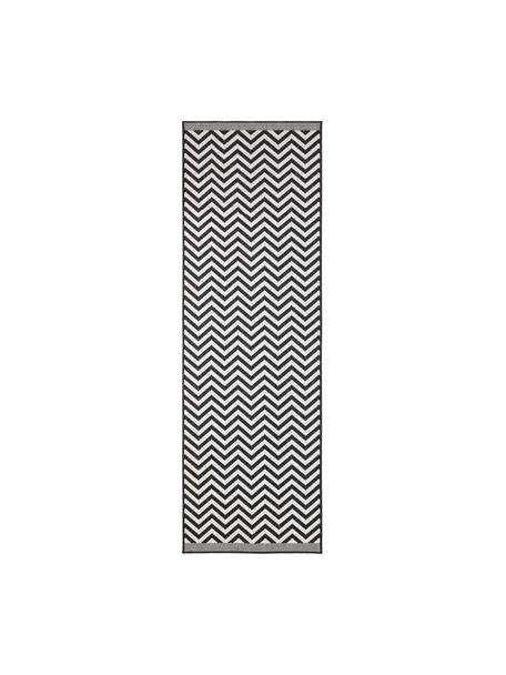 Alfombra reversible de interior/exterior Palma, Negro, crema, An 80 x L 250 cm