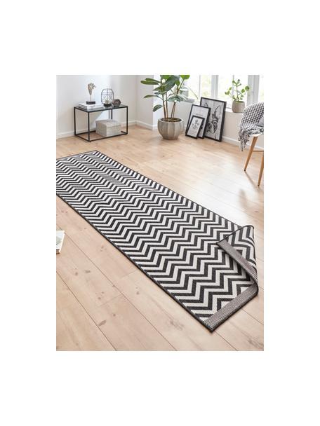 Dubbelzijdige in- & outdoor loper Palma, met zigzag patroon, 100% polypropyleen, Zwart, crèmekleurig, 80 x 250 cm