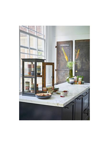 Handgemaakte schaal 70's in retro stijl, Keramiek, Zwart, beige, blauwtinten, Ø 27 x H 6 cm