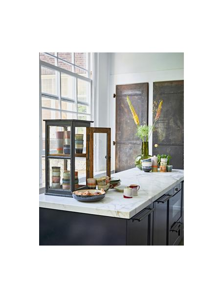 Handgemachte Schale 70's im Retro Style, Steingut, Schwarz, Beige, Blautöne, Ø 27 x H 6 cm