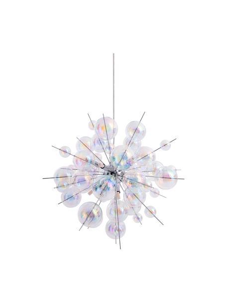 Lampada a sospensione con sfere di vetro Explosion, Struttura: metallo cromato, Baldacchino: metallo cromato, Cromo trasparente, iridescente, Ø 65 cm