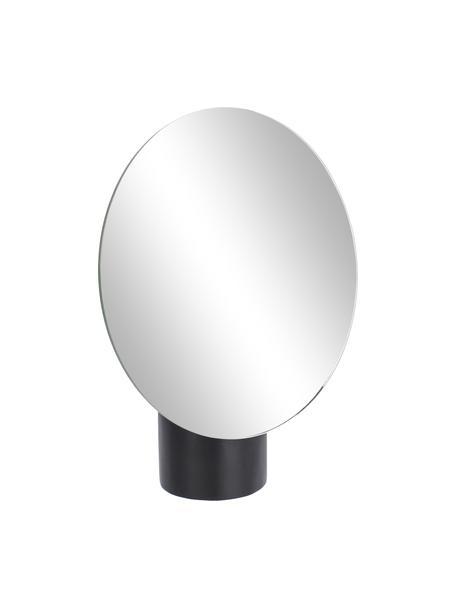 Runder Kosmetikspiegel Veida mit schwarzem Holzsockel, Sockel: Pappelholz, beschichtet, Spiegelfläche: Spiegelglas, Schwarz, 17 x 19 cm