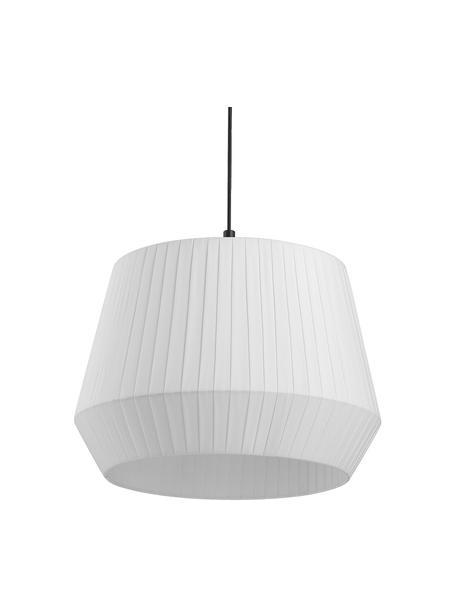 Klassische Pendelleuchte Dicte aus Faltenstoff, Lampenschirm: Stoff, Baldachin: Metall, beschichtet, Weiß, Schwarz, Ø 40 x H 34 cm