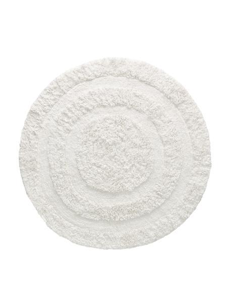Runder Teppich Eligia mit Hoch-Tief-Effekt, 100% Baumwolle, Weiss, Ø 120 cm (Grösse S)