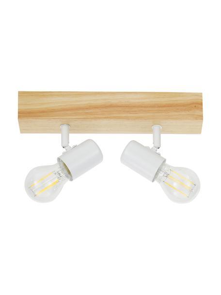 Mała lampa sufitowa z drewna Townshend, Biały, drewno naturalne, S 30 x W 13 cm