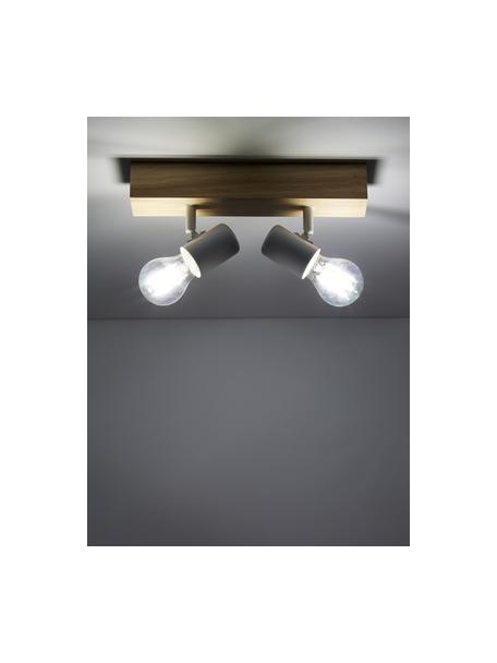 Kleine plafondspot Townshend van hout, Baldakijn: hout, Wit, houtkleurig, 30 x 13 cm