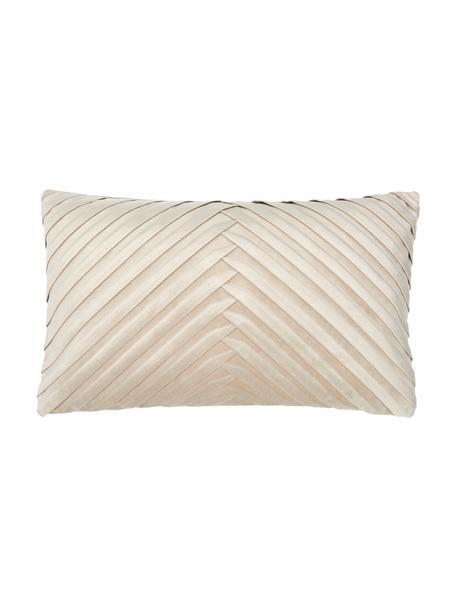 Fluwelen kussenhoes Lucie in champagnekleurig met structuur-oppervlak, 100% fluweel (polyester), Beige, 30 x 50 cm