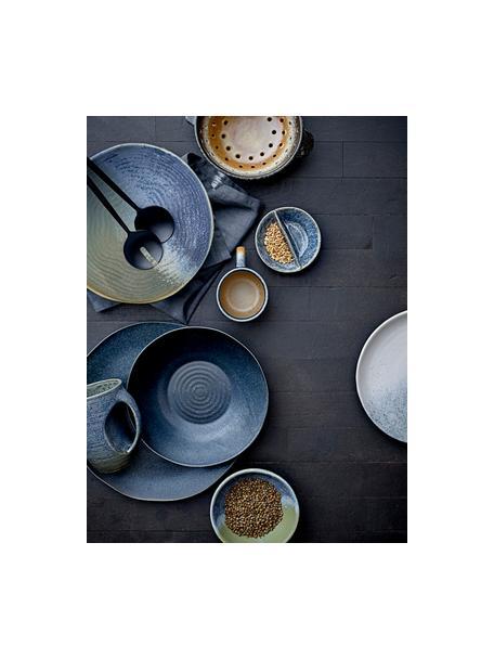 Ręcznie wykonana miska do serowania z kamionki Aura, Kamionka, Niebieski, beżowy, zielony, Ø 24 x W 7 cm