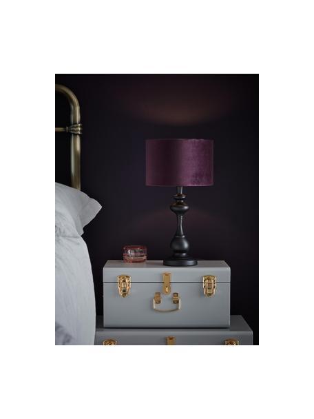 Lampada da tavolo con paralume in tessuto Connor, Paralume: tessuto, Base della lampada: metallo verniciato, Nero, viola, Ø 24 x Alt. 45 cm