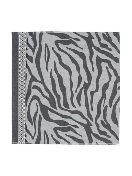 Katoenen theedoeken Africa met zebrapatroon, 6 stuks, Katoen, Zwart, wit, 60 x 65 cm