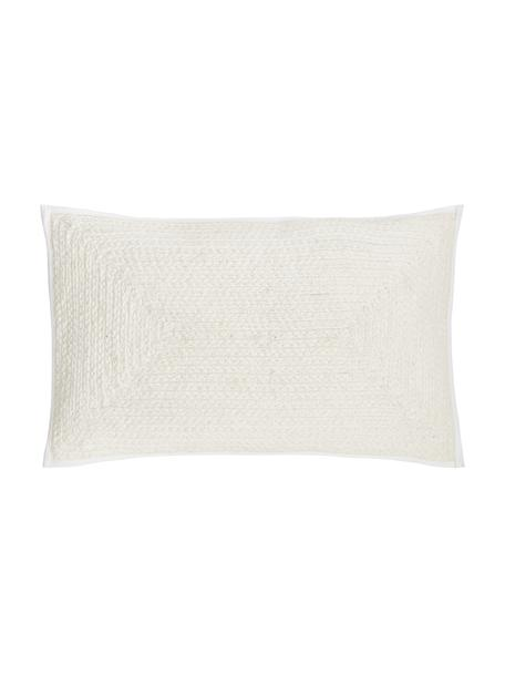 Federa arredo effetto juta Justina, 100% cotone, Bianco crema, Larg. 30 x Lung. 50 cm