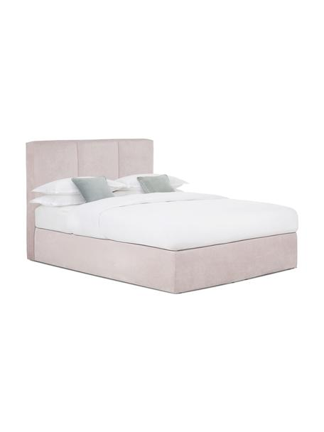 Boxspring bed Oberon in roze, Matras: 5-zones pocketvering, Poten: kunststof, Stof roze, 140 x 200 cm