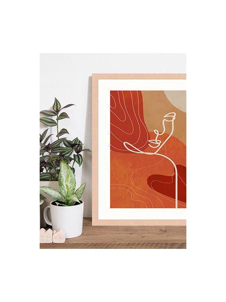 Oprawiony druk cyfrowy Red And Orange, Wielobarwny, S 43 x W 53 cm