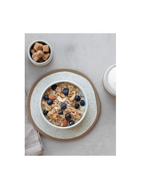 Ontbijtborden Caja  in mat bruin/beige, 2 stuks, Keramiek, Bruin- en beigetinten, Ø 21 cm