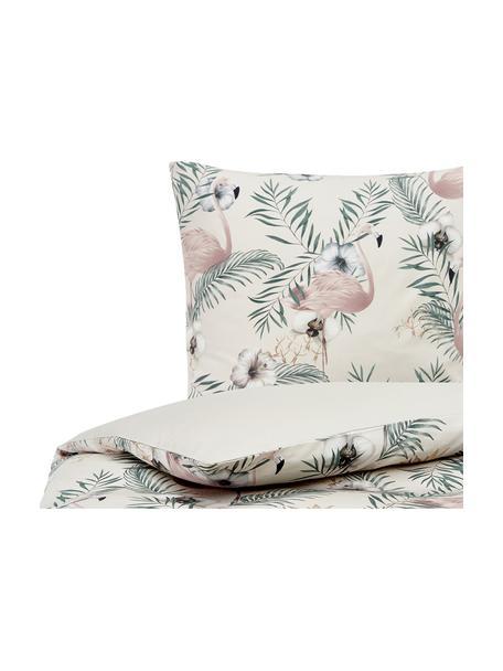 Baumwollsatin-Bettwäsche Elliana mit Flamingo-Print, Webart: Satin Fadendichte 200 TC,, Beige, Rosa, Grün, 135 x 200 cm + 1 Kissen 80 x 80 cm