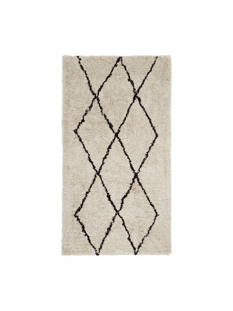 Pluizig hoogpolig vloerkleed Nouria, handgetuft, Bovenzijde: 100% polyester, Onderzijde: 100% katoen, Beige, zwart, 80 x 150 cm