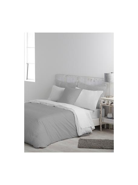 Dubbelzijdig dekbedovertrek Perun, Katoen, Bovenzijde: grijs, wit. Onderzijde: wit, 140 x 200 cm