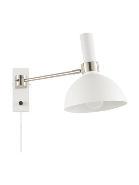 Kinkiet z funkcją przyciemniania z wtyczką Larry, Stelaż: mosiądz, Biały, chrom, S 19 x W 24 cm